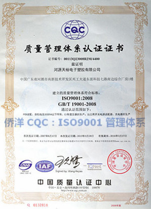 侨洋实业CQC证书